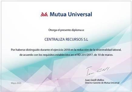 Centraliza consigue por segundo año consecutivo el bonus por reducción de la siniestralidad laboral